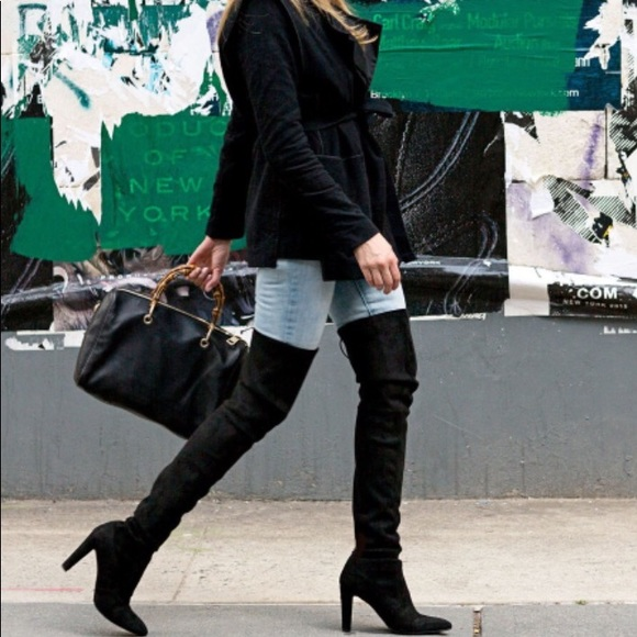Black Over The Knee High Heel Boot